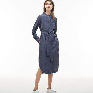 NEW Lacoste Long Maxi Button Down Shirt Dress 12